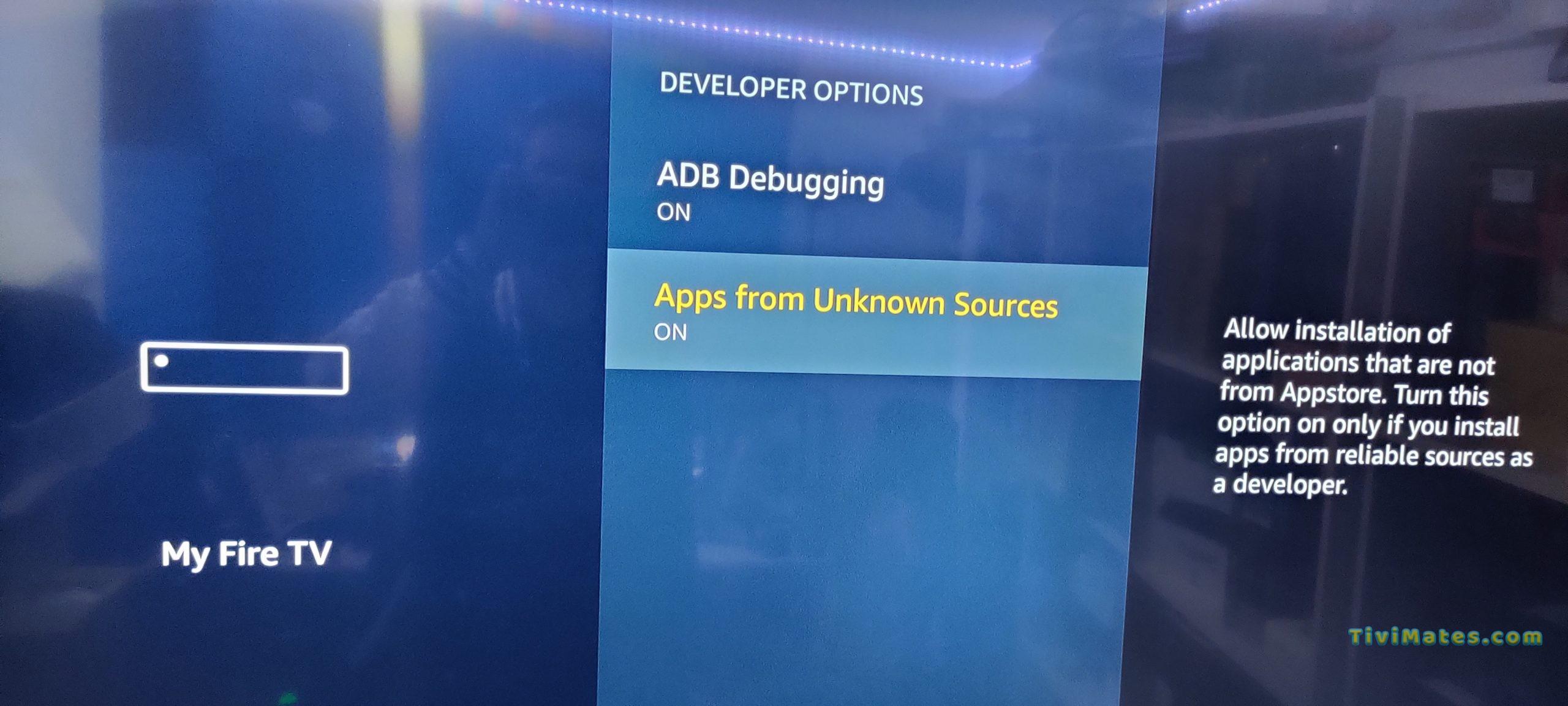 Firestick Developer option ON